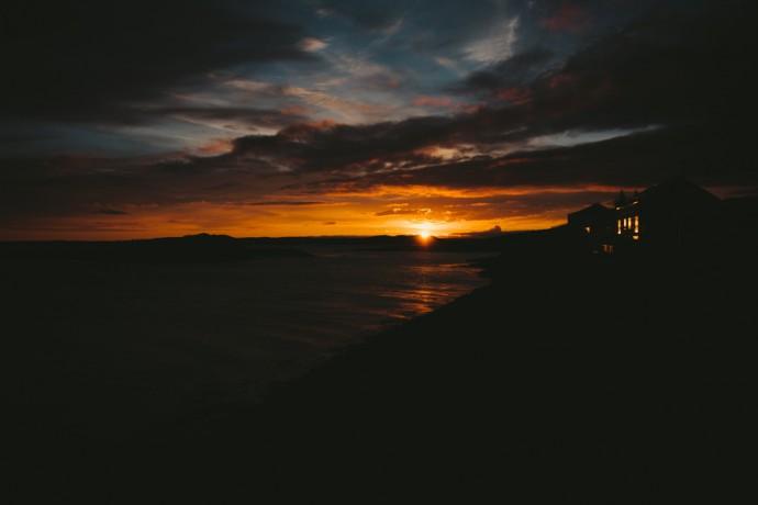 Dramatic sunset on coast