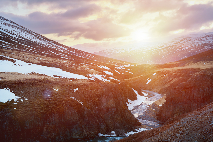Iceland snow mountain sunset