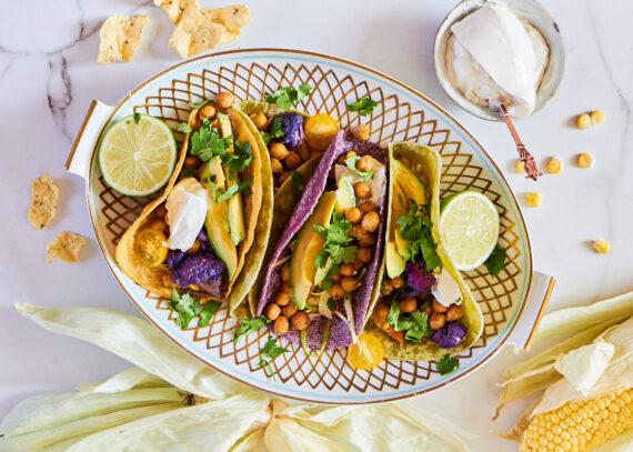 taco með kjúklingabaunum